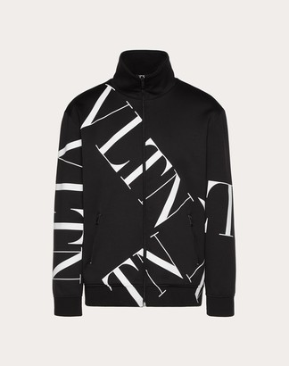Valentino Vltn Macrogrid Zipped Sweatshirt Man Black Polyamide 56%, Cotton 44% L