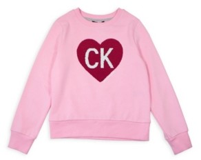 Calvin Klein Big Girls Heart Flip Sequin Sweatshirt