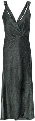 By Malene Birger Gathered Metallic Knitted Midi Dress