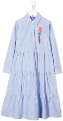 Stella Jean Kids striped parrot print shirt dress