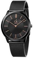 Calvin Klein Minimal Polished Black Pvd Case And Mesh Bracelet