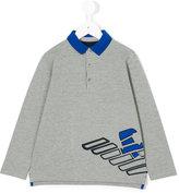 Armani Junior logo print polo shirt - kids - Cotton/Spandex/Elastane - 4 yrs