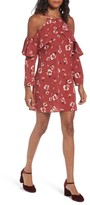 Band of Gypsies Women's Poppy Print Ruffle Cold Shoulder Dress