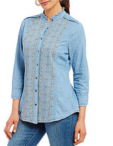 Reba Embroidered Chambray Button Front Shirt