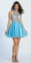 Dave and Johnny Illusion Embellished Keyhole Fit and Flare Party Dress
