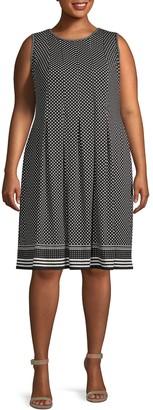 Max Studio Plus Dot-Print Pleated Knee-Length Dress