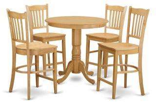 East West Furniture Natural Rubberwood 5-piece Counter Height Pub Set