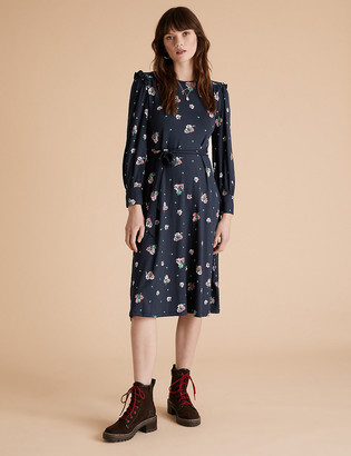 Marks and Spencer Jersey Floral Frill Sleeve Midi Smock Dress
