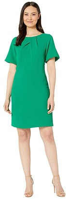 Adrianna Papell Textured Crepe Dress with Draped Neckline and Puff Sleeves (Emerald) Women's Dress