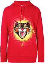 Gucci Angry cat applique hoodie