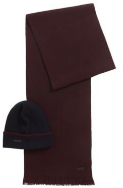 HUGO BOSS Hat And Scarf Set In Cashmere Touch Wool - Dark Blue