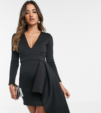True Violet exclusive plunge neck side peplum mini dress in black