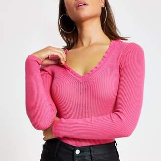 River Island Womens Pink frill V neck rib knitted jumper