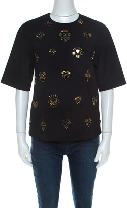 3.1 Phillip Lim Black Stretch Crepe Bead Embellished Top S