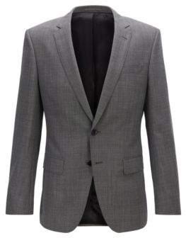 BOSS Slim-fit jacket in micro-patterned virgin wool serge