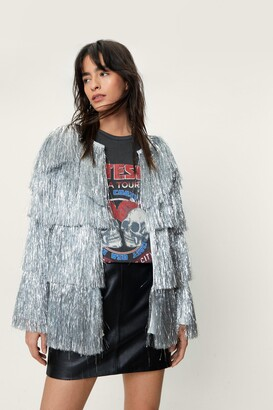 Nasty Gal Womens Metallic Tiered Fringe Jacket - Silver
