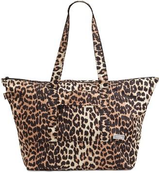 Ganni Leopard Print Nylon Duffle Bag