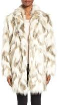 Tahari Phoebe Multicolor Faux Fur Coat