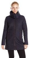 Armani Jeans Women's Caban Quilted Nylon Long Coat with Detachable Collar