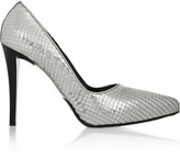 Jil Sander Embossed metallic leather pumps