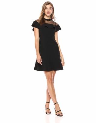 Nanette Lepore Nanette Women's Ss Dress W/Mesh Yoke & Flounce Nkln