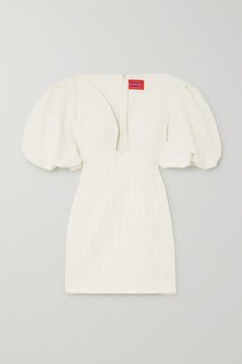 SOLACE London Delphi Gathered Cotton-tweed Mini Dress - White