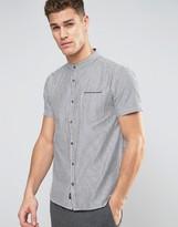 Brave Soul Blue and White Striped Grandad Collar Shirt