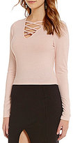 GB Rib Knit Cross Front Long-Sleeve Crop Top