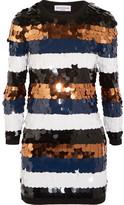 Sonia Rykiel Sequined Wool-jersey Mini Dress - Navy