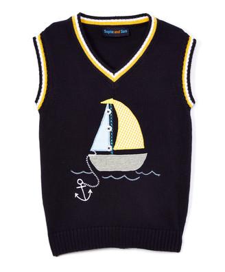 SAM. Sophie & Boys' Sweater Vests navy - Navy & Yellow Sailboat Sweater Vest - Infant, Toddler & Boys