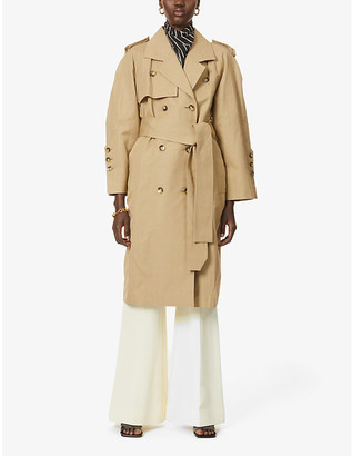 AKIRA NAKA Daphne cotton and linen-blend trench coat