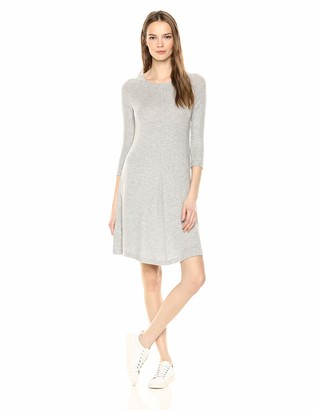 Three Dots Women's QQ5889 Brushed Sweater Swing Dress Heather Grey Medium
