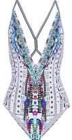 Camilla Crystal-Embellished Printed Halterneck Swimsuit
