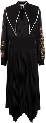 Tory Burch Embellished-Sleeve Pleated Midi Dress