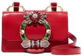 Miu Miu Lady Embellished Textured-leather Shoulder Bag
