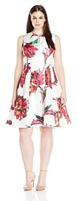 Julian Taylor Women's Plus Size Sleeveless Floral Fit and Flare Dress