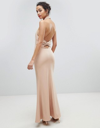 Jarlo High Neck Ruched Open Back Maxi Dress-Pink