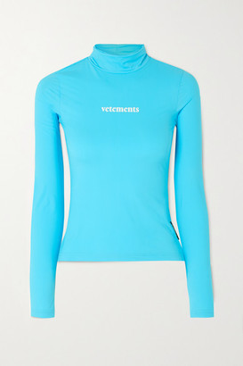 Vetements Printed Stretch-jersey Turtleneck Top - Turquoise