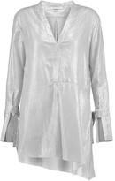 Halston Asymmetric Metallic Striped Cotton-Voile Tunic