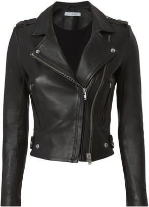 IRO Dylan Black Cropped Moto Jacket