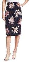 Rebecca Taylor Phlox Floral-Print High-Waist Skirt, Navy