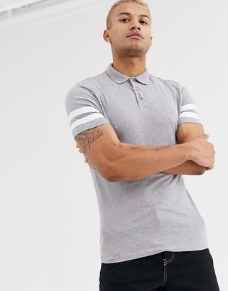 Asos Design DESIGN organic skinny polo shirt with contrast sleeve stripes in grey