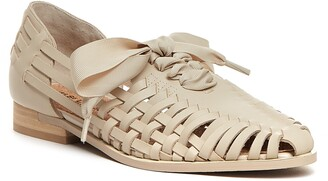 Kelsi Dagger Brooklyn Lace-Up Braided Leather Flat