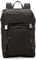 Prada Men's Nylon Double-Buckle Backpack, Black
