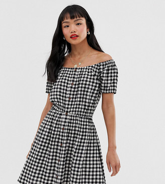 Brave Soul Petite off shoulder dress in gingham with button front-Black