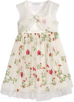 Bonnie Jean 2-Pc. Floral-Embroidered Dress & Organza Shrug Set, Toddler Girls