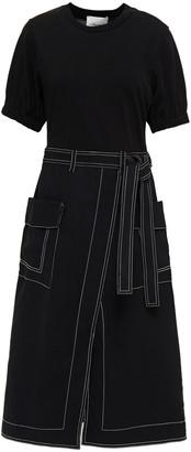 3.1 Phillip Lim Paneled Cotton-jersey And Denim Midi Dress