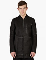 Rick Owens Black Leather Longline Studded Jacket