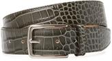 DeSanto Men's Croc Embossed Leather Belt