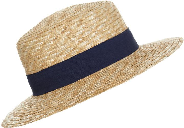 Miss Selfridge Straw preppy boater hat